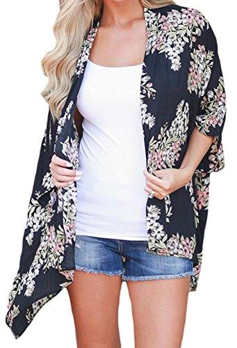 Elsa Steen Damen Sommer Jacken Kimono, Strand Kaftan mit FlowerPrint, XS2XL,  Mehrfarbig