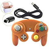 Poulep 1 Pack Classic Wired Gamepad Controller for Wii Game Cube Gamecube Console (Orange)