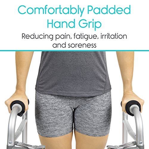 Vive Walker Padded Hand Grip Covers- Soft Cushion Padding Medical Accessories for Folding Rolling Walker, Rollator Handle, Senior, Elderly Grippers - Crutch Handle Pads - Mobility Aid Hand Cushion by Vive (Image #1)
