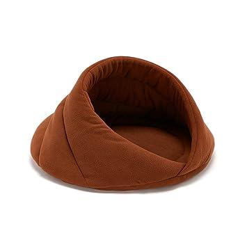 ENCOCO Cama para Mascotas con Forma de Cueva, Suave para Gatos, Cama para Dormir y Mantener a su Mascota Caliente Cachorro pequeños Animales, café, ...