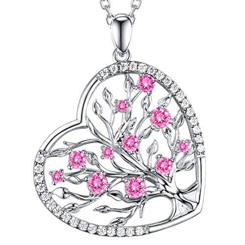 Re Besta Necklace Gifts for Wife Sterling Silver Jewelry LC Pink Tourmaline Love Heart Tree of Life Pendant Necklace Anniversary Birthday Gifts for Her for Women 20