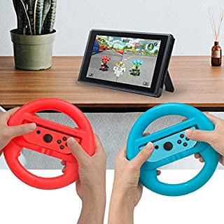 Joycon Steering Wheel (Set of 2) Compatible with Nintendo Switch Joycons (Red+Blue)