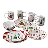 American Atelier 7216-16-RB Ornaments Holiday Dinnerware Set, 10.5×10.5, Green/Red Review