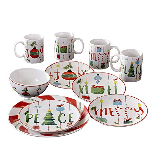 American Atelier 7216-16-RB Ornaments Holiday Dinnerware Set 10.5x10.5