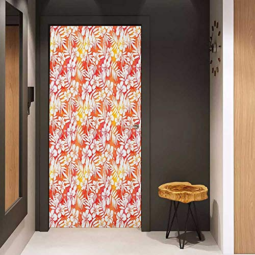 Soliciting Sticker for Door Orange Fantasy Watercolor Backdrop with White Hibiscus Blossoms Leaves Aloha Jungle Mural Wallpaper W35.4 x H78.7 Yellow Coral White