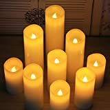"""Flameless Candles 4""""5""""6""""7""""8""""9"""" Set of 9 Battery Candle Ivory Dripless Real Wax Pillars Include Realistic LED Flames and 10-key Remote Timer By Aignis"""
