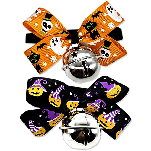 Halloween Dog Collars with Bowtie and Bells, Halloween Pumpkin Ghost Adjustable Pet Bowties Collars Grooming Accessories for Pets Dogs Puppy Cats (2 Pack)