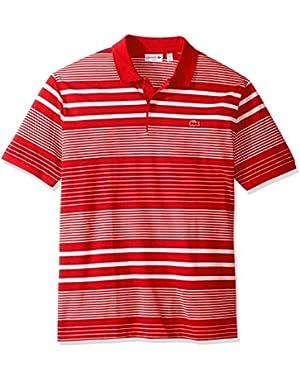 Men's Short Sleeve Engineered Stripe Mini Pique Slim Polo