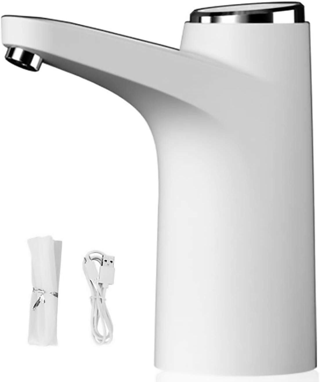 Dispensador de Agua Eléctrico Automático, Grifo para Tratamiento y Succión del Agua con Botón para Garrafa, Bomba Inteligente Universal Compacta para Casa, el Hogar, Camping, Viaje (BLANCO)