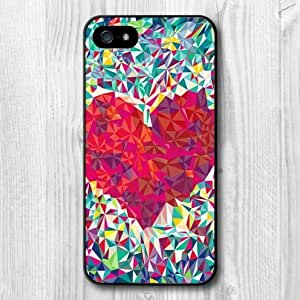 For iphone 4s Case, New Design Colorful Geometric Heart Pattern Protective Hard Phone Cover Skin Case For iphone 4s +Screen Protector