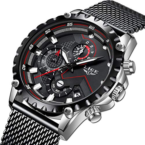 LIGE Men's Watches Fashion Luxury Military Sport Analog Quartz Watch for Men Waterproof Chronograph Classic Casual Black Watches Men Stainless Steel Mesh Band Male Gents Dress (Best Luxury Watches 2019)