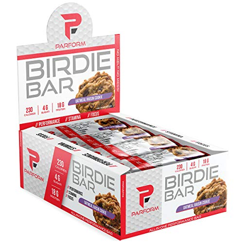 Parform Birdie Bar | High Protein Bar | All-In-One Performance Nutrition Bar | 230 Calories, 4g of Sugar & 18g of Protein | (12 Bars, Oatmeal Raisin Cookie) (Body Cookie Oatmeal)