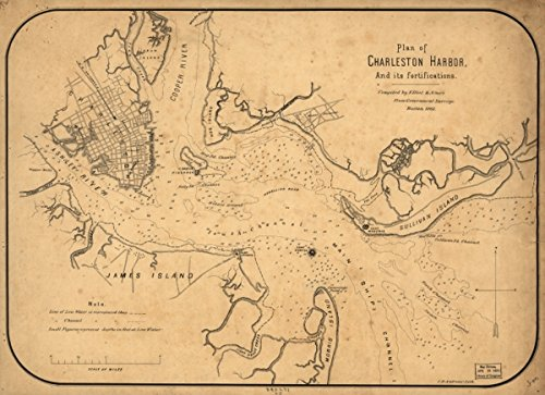 Map: 1861 Plan of Charleston Harbor, and its fortifications|Charleston Harbor|Charleston Harbor SC|Charleston Region|Fortification|South Carolina|