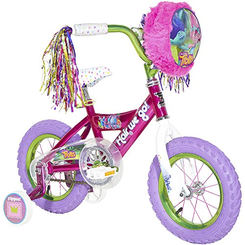 Dynacraft 12 inch Steel Frame Coaster Kids Bike for Girls with Front Bag, Streamers and Training Wheels, Pink