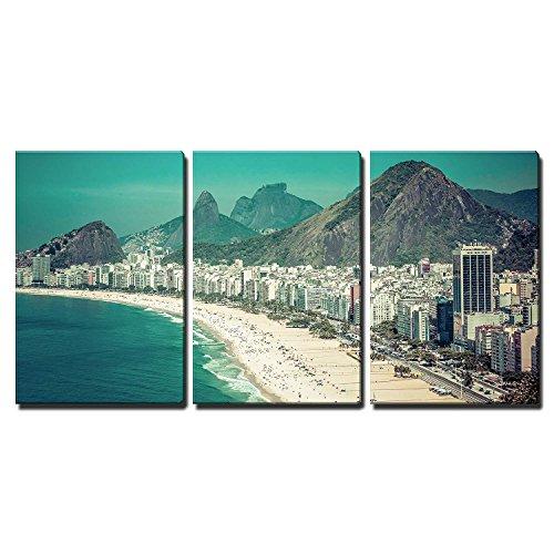 wall26 - 3 Piece Canvas Wall Art - Rio De Janeiro, Brazil - Copacabana Beach - Modern Home Decor Stretched and Framed Ready to Hang - 24