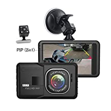 Camecho Dash Camera Dual Lens 3 Inch 1080P Full HD Black Box Video Recorder With Backup Rearview Camera Night Vision Waterproof 170 Degree Viewing