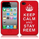 """iPhone 4S / iPhone 4 """"Keep Calm And Carry On"""" Silicone Skin Case (Stay Reem Red/White)"""