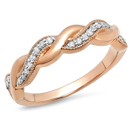 0.15 Carat (ctw) 18K Gold Round Diamond Ladies Bridal Anniversary Wedding Stackable Swirl Band