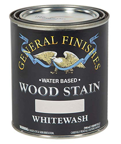 General Finishes WIQT Water Based Wood Stain, 1 Quart, Whitewash (White Antique Wash)