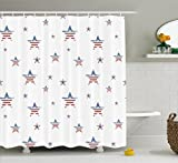 4th of July Shower Curtain by Ambesonne, Vintage American United States Flag Pattern with Rusty Effects Retro Picture, Fabric Bathroom Decor Set with Hooks, 70 Inches, Multicolor