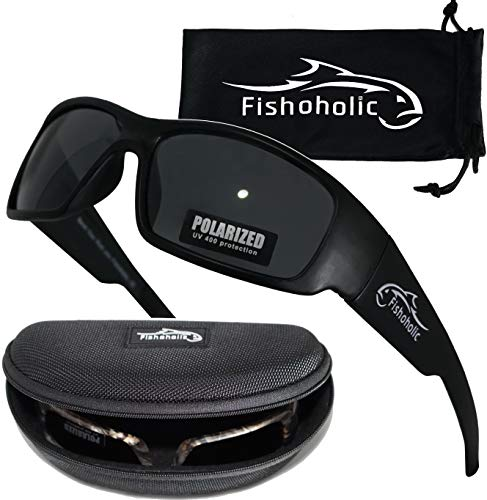 2944a5e0f234d Fishoholic Polarized Sport Sunglasses w Free Hard Case   Cleaning Pouch  UV400 100% UV Protection. Great Fishing Gift to Fish River Lake Bass  Saltwater ...