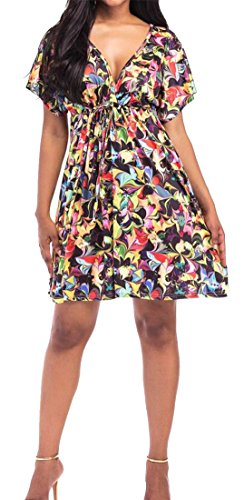 Sexy Neck Flared Cromoncent Womens V Print Waist Dress Pleated High 1 Mini cScfwq1xH