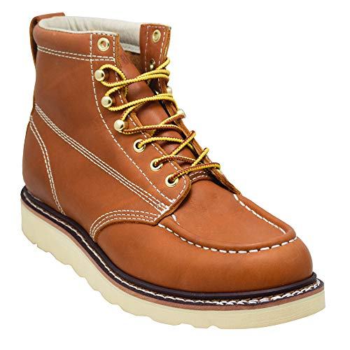 EVER BOOTS ''Weldor Men's Moc Toe Construction Work Boots Wedge Soft Toe (10.5 D(M), Brown) by EVER BOOTS