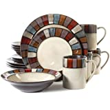Gibson Elite Tabella Mosaic 16-Piece Dinnerware Set, Cream
