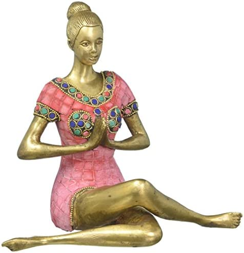 Lotus Pose Statue Figurine with Yoga Instructions Brass Descriptions Yoga Lady Statue