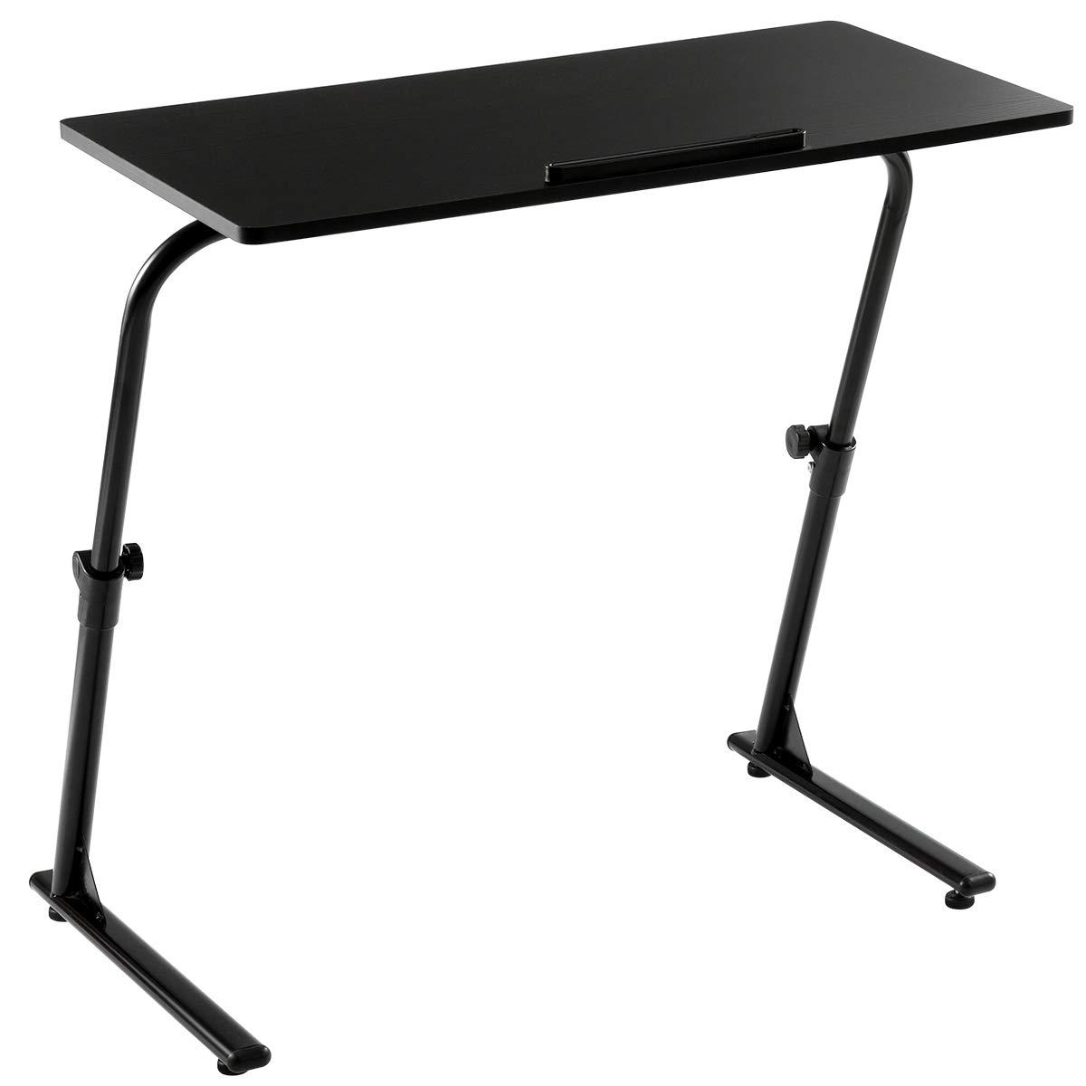 AGTEK Portable Computer Desk, Standing Computer Desk, Adjustable Laptop Stand Tray Side Table, Black