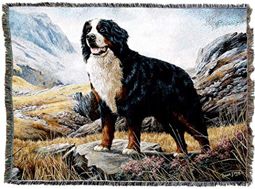 Pure Country Weavers - Bernese Mountain Dog Woven Tapestry Throw Blanket with Fringe Cotton USA Size 72 x 54