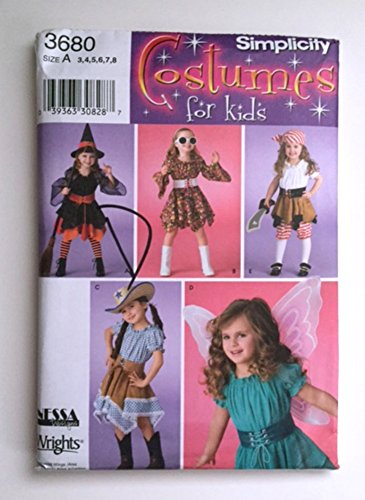 Simplicity 3680 Sewing Pattern Costume Witch Fairy Cowgirl Pirate Rock Star