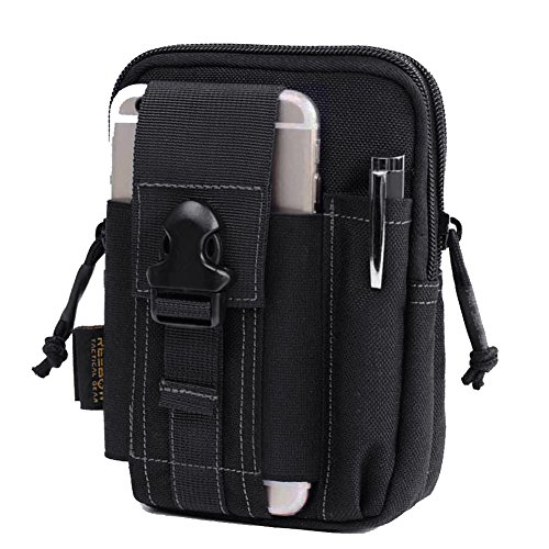 REEBOW GEAR Tactical Molle EDC Pouch Utility Gadget Belt Waist Bag with Cell Phone Holster Holder for iPhone 6 Plus Black