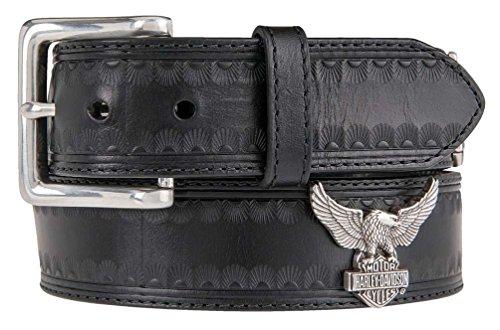 (Harley-Davidson Men's Road Wing Genuine Leather Belt, Black HDMBT11122-BLK (42))