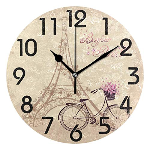 Dozili Chic Romantic Eiffel Tower and Bicycle Bonjour Paris Round Wall Clock Arabic Numerals Design Non Ticking Wall Clock Large for Bedrooms,Living Room,Bathroom