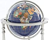 13'' Kalifano Gemstone Globe with Lapis Ocean on 37'' Ambassador 3-Leg High Stand
