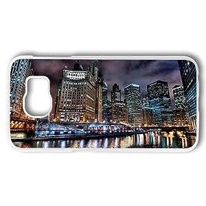 Samsung Galaxy S6 Case, Chicago Cityscape PC Plastic Transparent Border Case for Samsung Galaxy S6