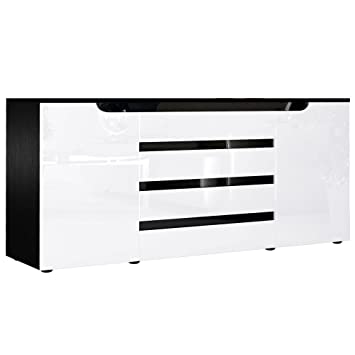 Sideboard weiß schwarz hochglanz  Sideboard Kommode Sylt V2, Korpus in Schwarz matt / Front in Weiß ...