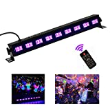 Black Light,HomRealm 9LED UV LED Bar Light,Glow Dark Party Supplies for Blacklight Party Fluorescent Party Light Birthday Wedding Stage Dance Floor Lighting with Remote Control