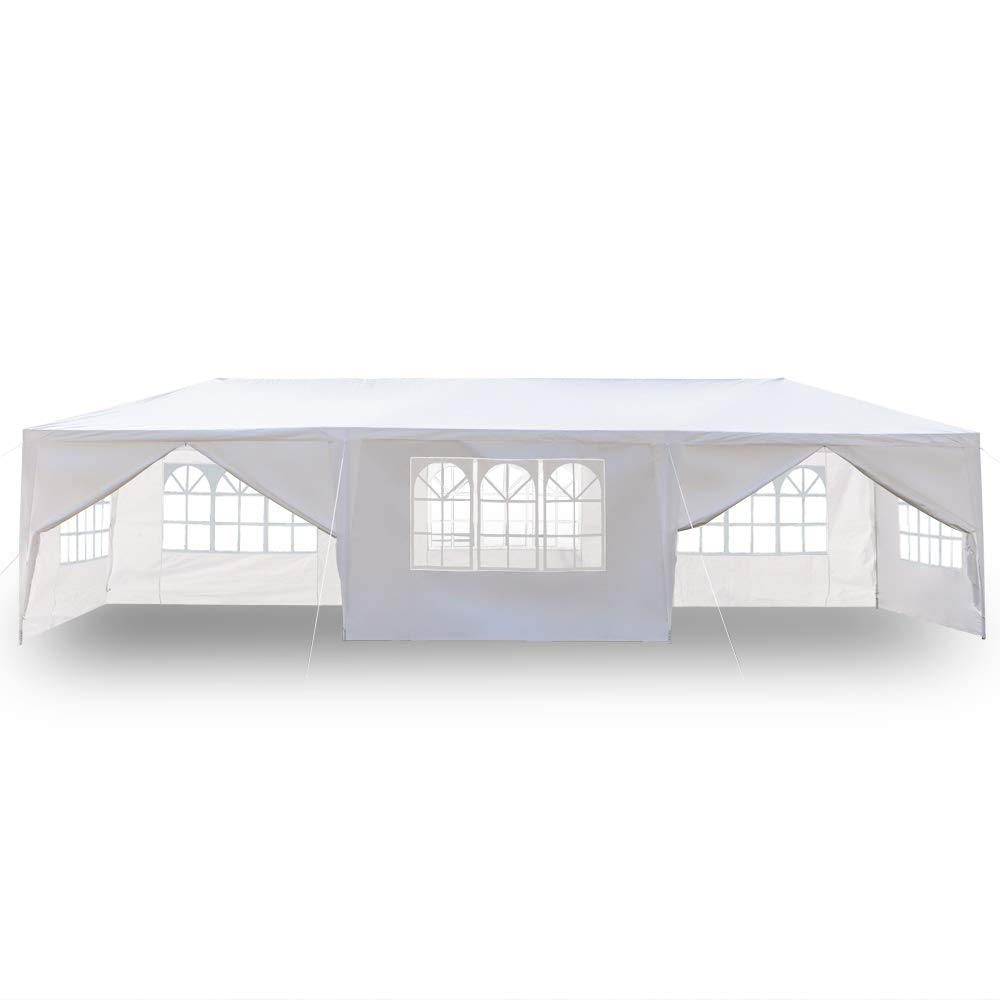 Yuehang Outdoor 10x30ft Canopy Tent, Portable Gazebo Canopy Tent for Party Wedding Commercial Waterproof, UV Protection Shelter, Removable Sidewalls, Upgraded Spiral Tube White 8 Removable Side