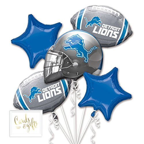 Lions Football Balloon - Andaz Press Balloon Bouquet Party Kit with Gold Cards & Gifts Sign, Lions Football Themed Foil Mylar Balloon Decorations, 1-Set