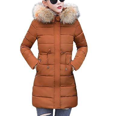 Damen Winterjacke Lange Daunenjacke Outwear Frauen Winter Warm Kunstpel dünner Steppjacke Starke Dicker Kapuzenjacke mit Kapuze Kragen Jake erdickt