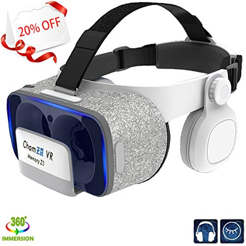 Phone VR Headset with Headphones Eye Protected Movies & Games Virtual Headset Reality Glasses for Myopia & Hyperopia 120° FOV Lightweight VR Mask for iOS & Android Smartphones w/ 4.5-6.0 inches Screen