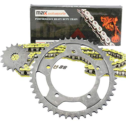 (Yellow O-Ring Chain and Sprocket Kit for Suzuki GSX-R 600 2001 2002 2003 2004 2005)