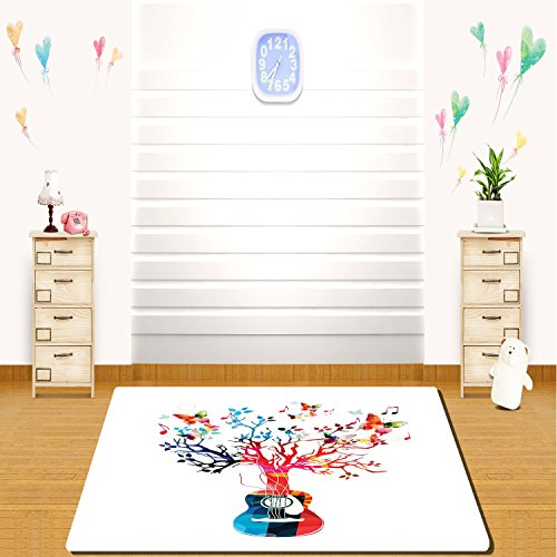 HAIXIA rugs Guitar Colorful Musical Composition with Guitar Tree and Butterflies Artistic Inspiration (Sailor Suit Bubble)