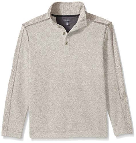 Van Heusen Men's Solid Button Mock Sweater Fleece, Silver Birch, - Shirt Over Fleece