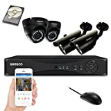 SANSCO CCTV Security Camera System with 4 Channel 1080N DVR, (2) Bullet and (2) Dome Cameras (All HD 720p 1MP), 1TB Internal Hard Drive Disk - All-in-One Wired Surveillance Camera Kit