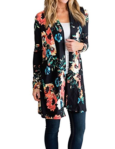 Women Chiffon Kimono Floral Casual Loose Boho Cardigan Thin Coat - 5