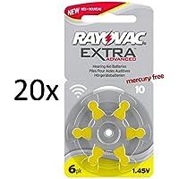 120 pile batterie per apparecchi acustici RAYOVAC EXTRA 10 gialle PR70