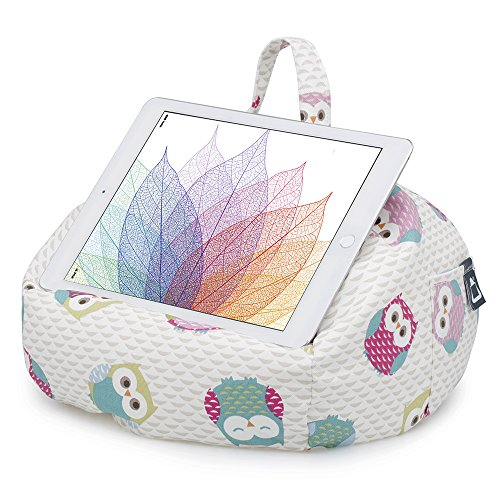 iPad Pillow & Tablet Stand - Securely Holds Any Size Tablet, eReader or Book Upto 12.9 inches, Hands Free Comfort at Any Angle on Any Surface - Owls, by iBeani